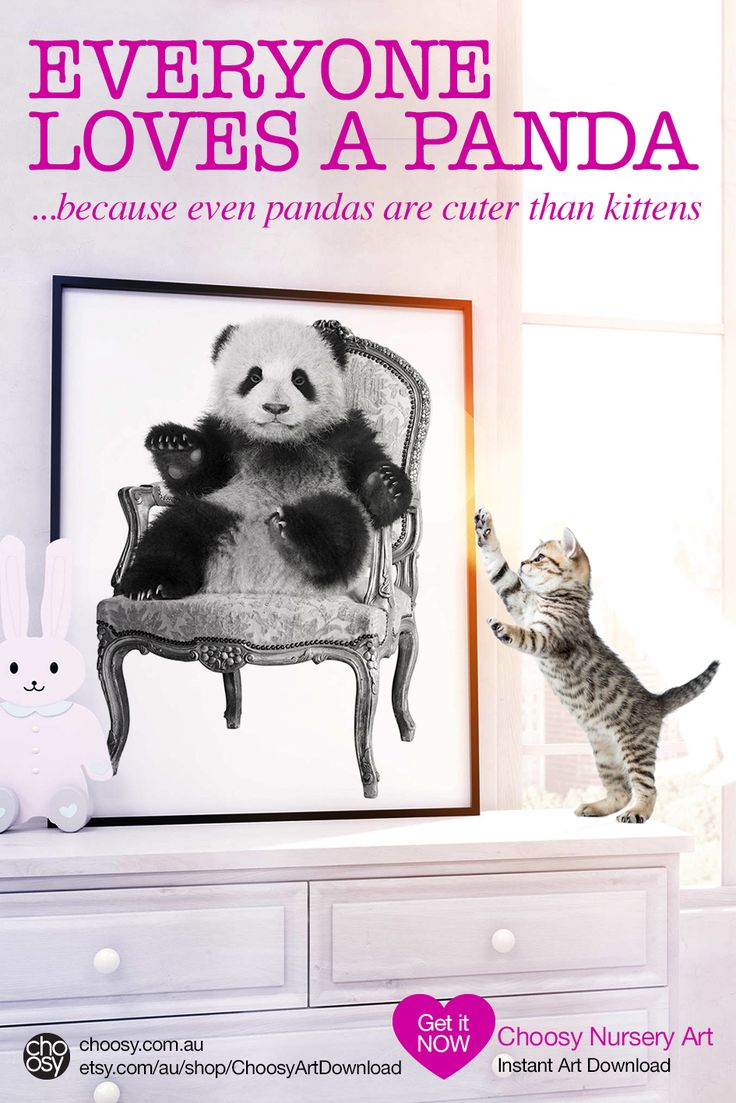 Panda Bear Nursery Art - Instant Download Printable Art at Choosy. Print to paper or canvas in your choice of sizes.