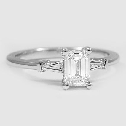 18K White Gold Tapered Baguette Diamond Ring // Set with a 0.76 Carat, Emerald, Very Good Cut, I Color, VS1 Clarity Lab Diamond #BrilliantEarth
