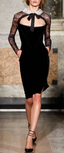 Lace and velvet dress / emilio pucci | More lace here: http://mylusciouslife.com/pictures-of-lace/