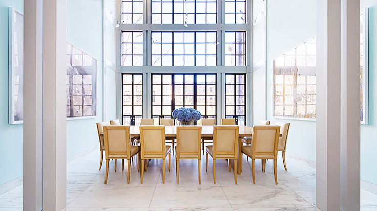 Real Estate Envy: 7 Gorgeously Renovated Homes Around the Country // Marble tiles and tall windows: Tall Windows, Estates Envi, Big Windows, Dining Spaces, Gorgeous Renovation, Best Kitchens, Dining Rooms Design, Breathtak Rooms, Steel Windows