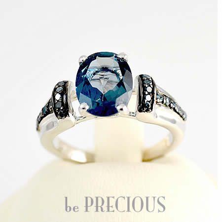 Inel cu Topaz si Diamante albastre