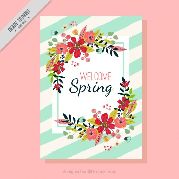 Spring card with flowers Free Vector