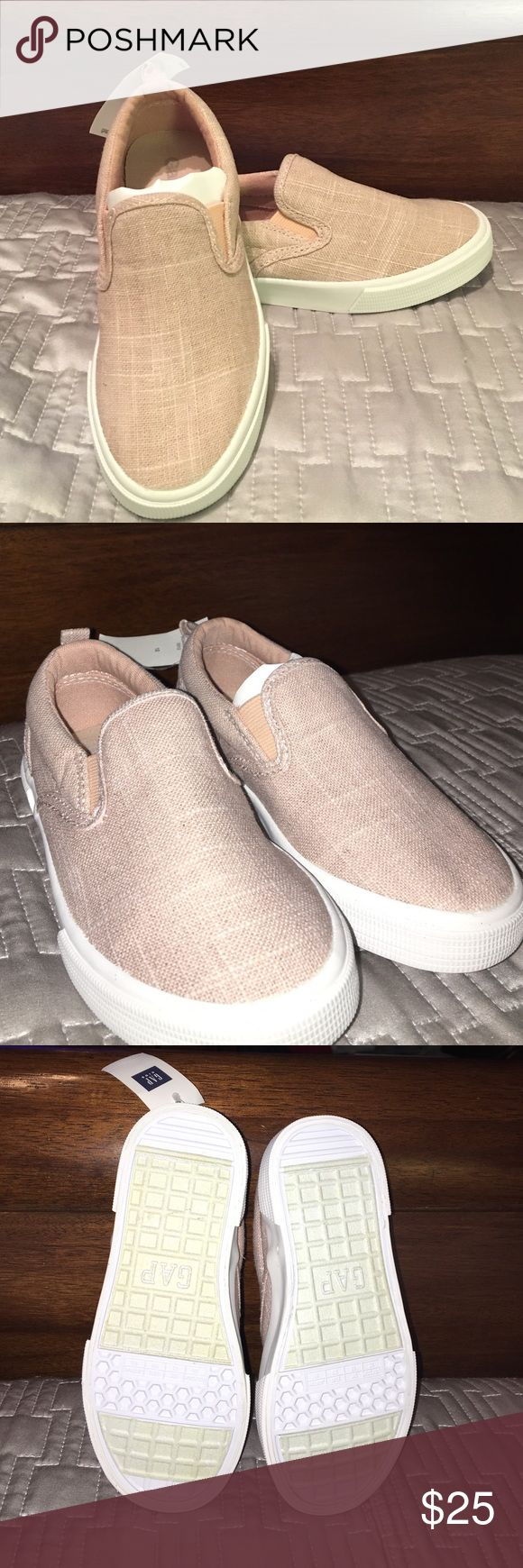 NWT || GAP || Marbled Woven Slip-On Tennis Shoes GAP slip-on tennis shoes. They are a pinkish color with pieces of glitter shinning throughout them. Girls size 12. Smoke Free Home. GAP Shoes Sneakers