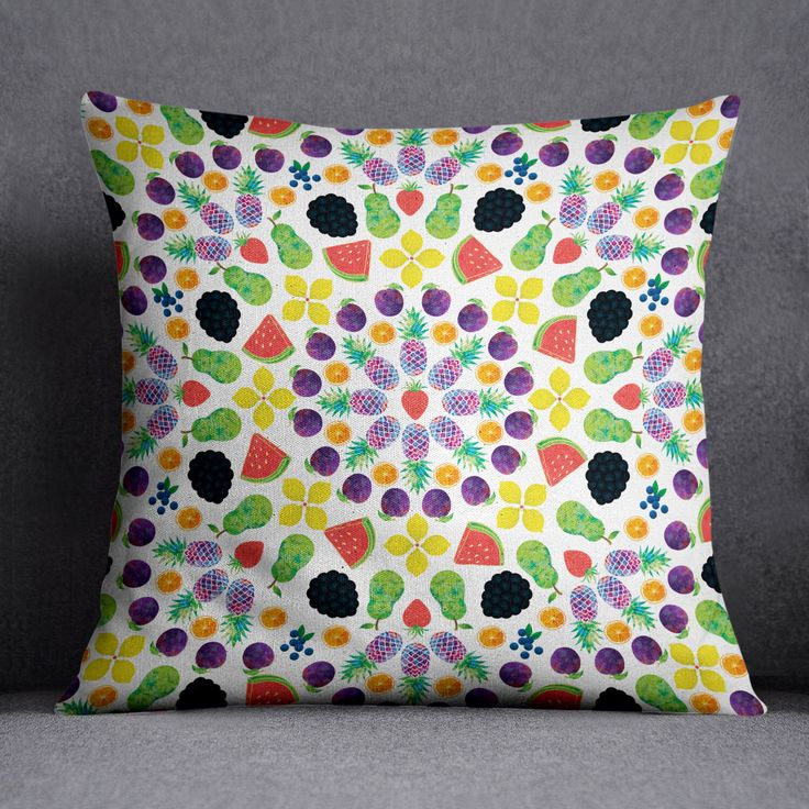 "Fruit Mandala Throw Pillow, 18x18"" by VEGANFLYERS on Etsy https://www.etsy.com/listing/256358996/fruit-mandala-throw-pillow-18x18"
