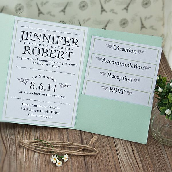 cheap modern simple green pocket wedding invitations EWPI131 as low as $1.69 |