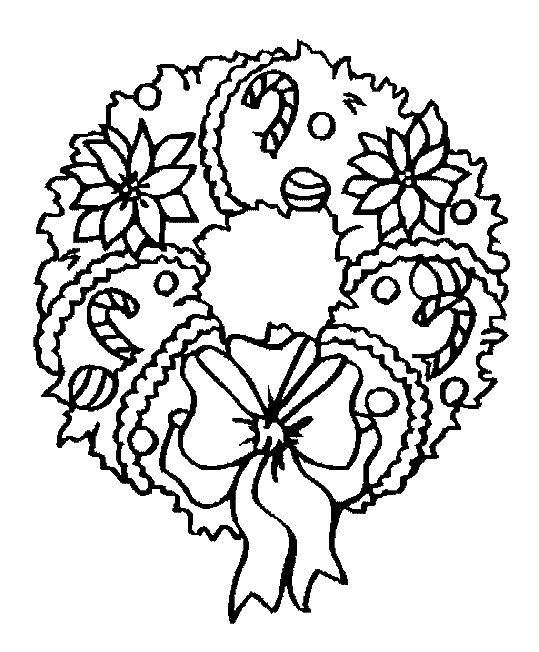 Free Christmas Wreath Coloring Page Pages 4 Printable