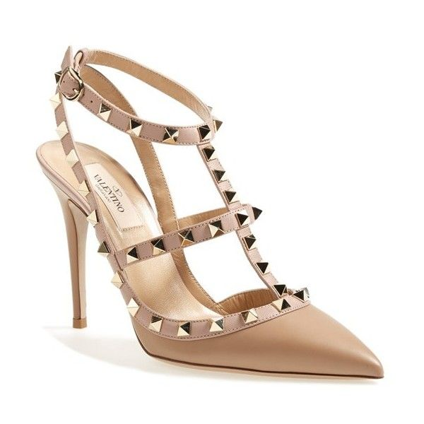 Women's Valentino 'Rockstud' T-Strap Pump (€890) ❤ liked on Polyvore featuring shoes, pumps, camel, t bar pumps, t-strap pumps, camel pumps, t-strap shoes and camel shoes