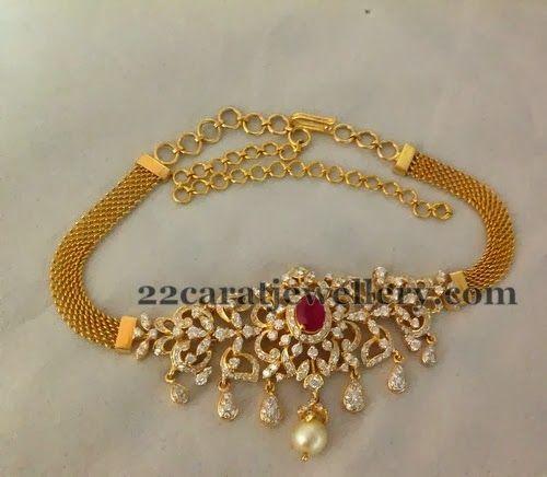 Choker Cum Bajuband in Diamonds   Jewellery Designs