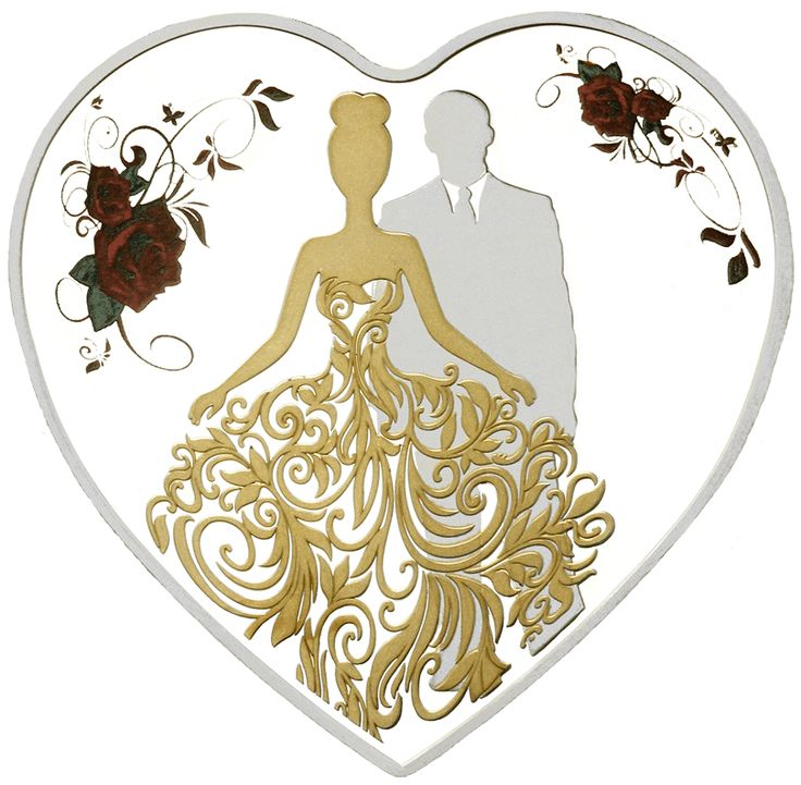 """Bride & Groom  This gorgeous coin features a silhouette of a couple on their wedding day, dressed in their finery, with the bride's wedding gown gilded in 9999 gold.  The intricate detail of her gown flows over her husband's suit so that they seem to blend together, reinforcing the idea of the """"two becoming one"""" on this special day."""