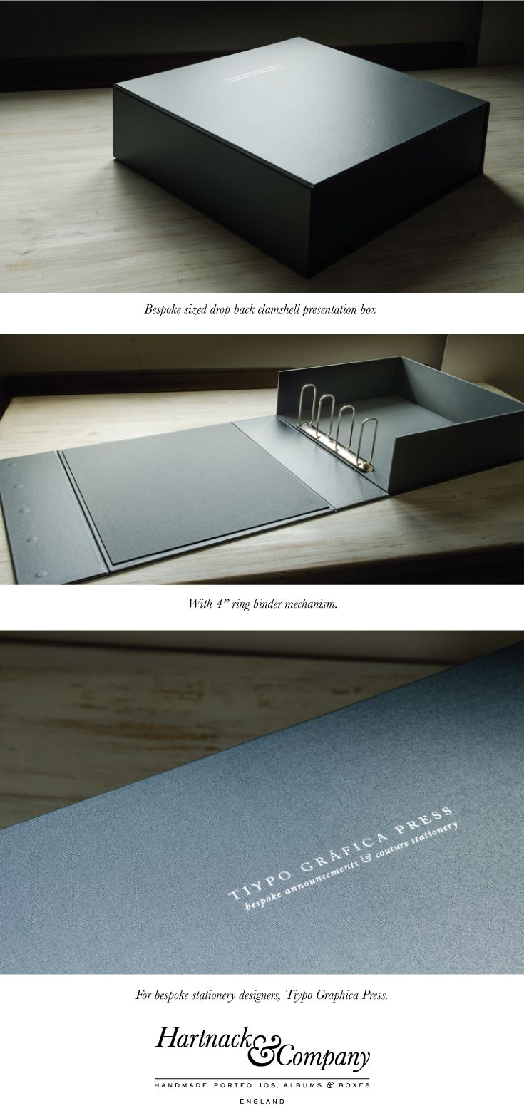 Bespoke portfolio presentation clam shell box with ring binder mechanism.