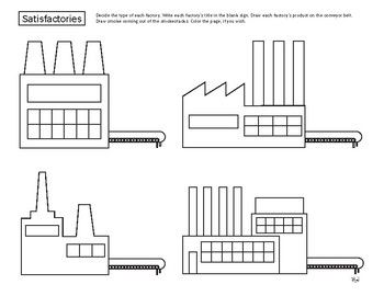 This fun work/coloring sheet raises your child's awareness of factories and the many products that come from them. Decide the type of each factory. Write each factory's title in the blank sign. Draw each factory's product on the conveyor belt. Draw smoke coming out of the smokestacks. Color the page, if you wish. From Our Time to Learn, ages 4-6.