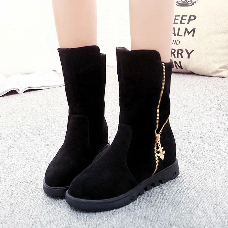 LELE 2017 fashion Women mid calf Boots winter  Platform snow Boots with fur warm zipper ladies shoes Bottes Femmes Zapatos Mujer