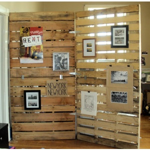 pallet room divider - what an awesome idea! This will seperate the TV area from the gaming area quite nicely!