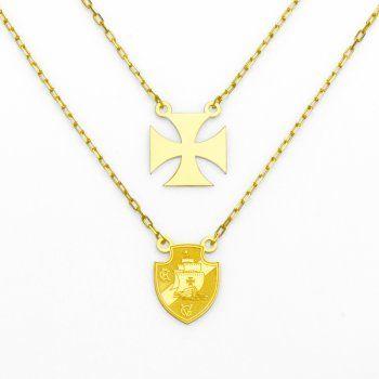 Escapulário de Ouro 18k Escudo Vasco da Gama e Cruz de Malta- ga02472