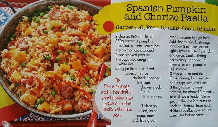 Spanish pumpkin and chorizo paella