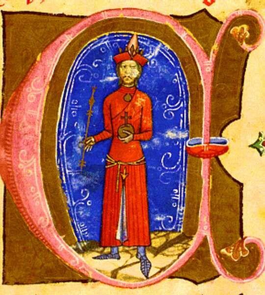 p128 of the Képes Krónika, Hungary, 1360