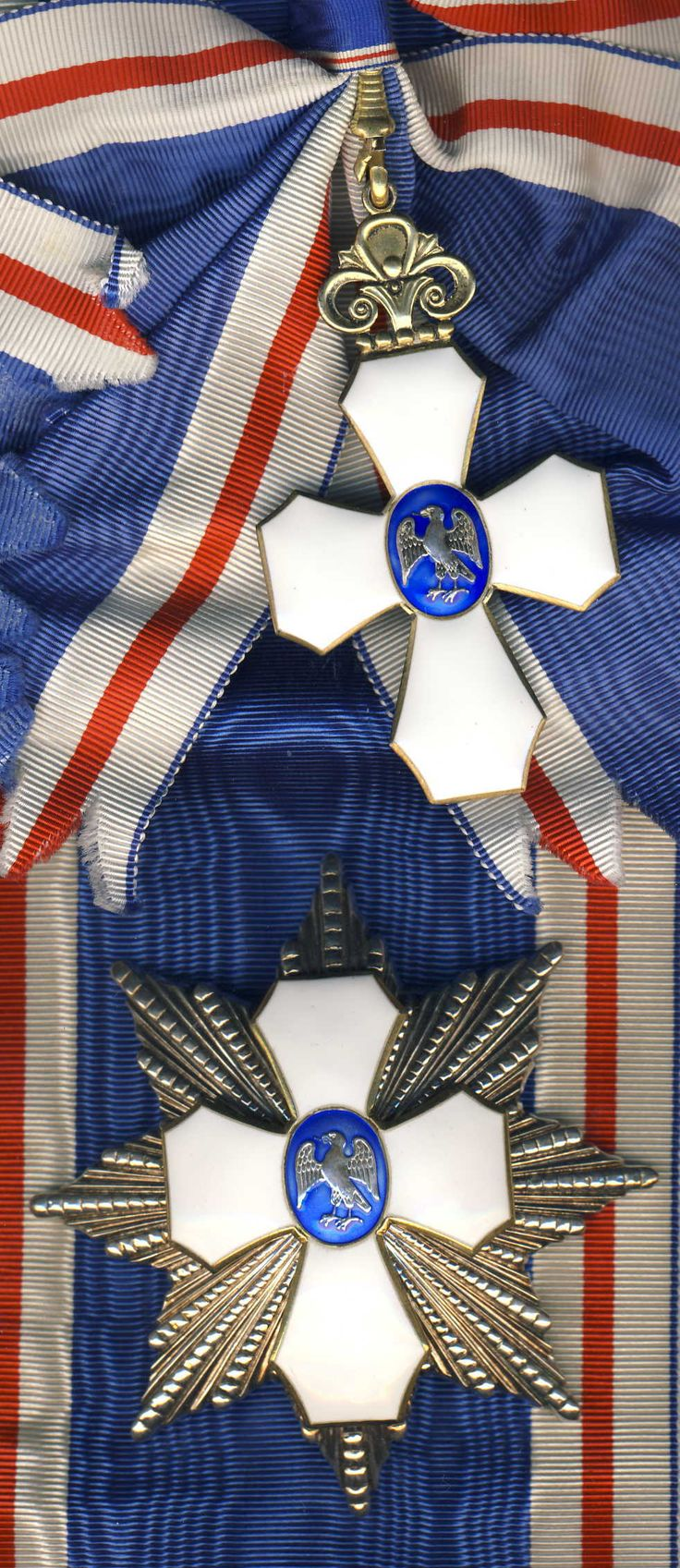 Iceland Order of the Icelandic Falcon Grand Cross Set  brooch iceland riband red white blue  sash  badge