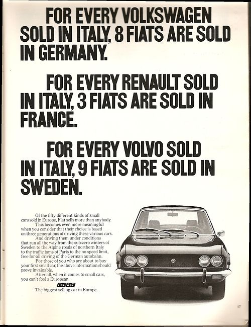 Fiat ad created by Carl Ally, Inc. in 1971.