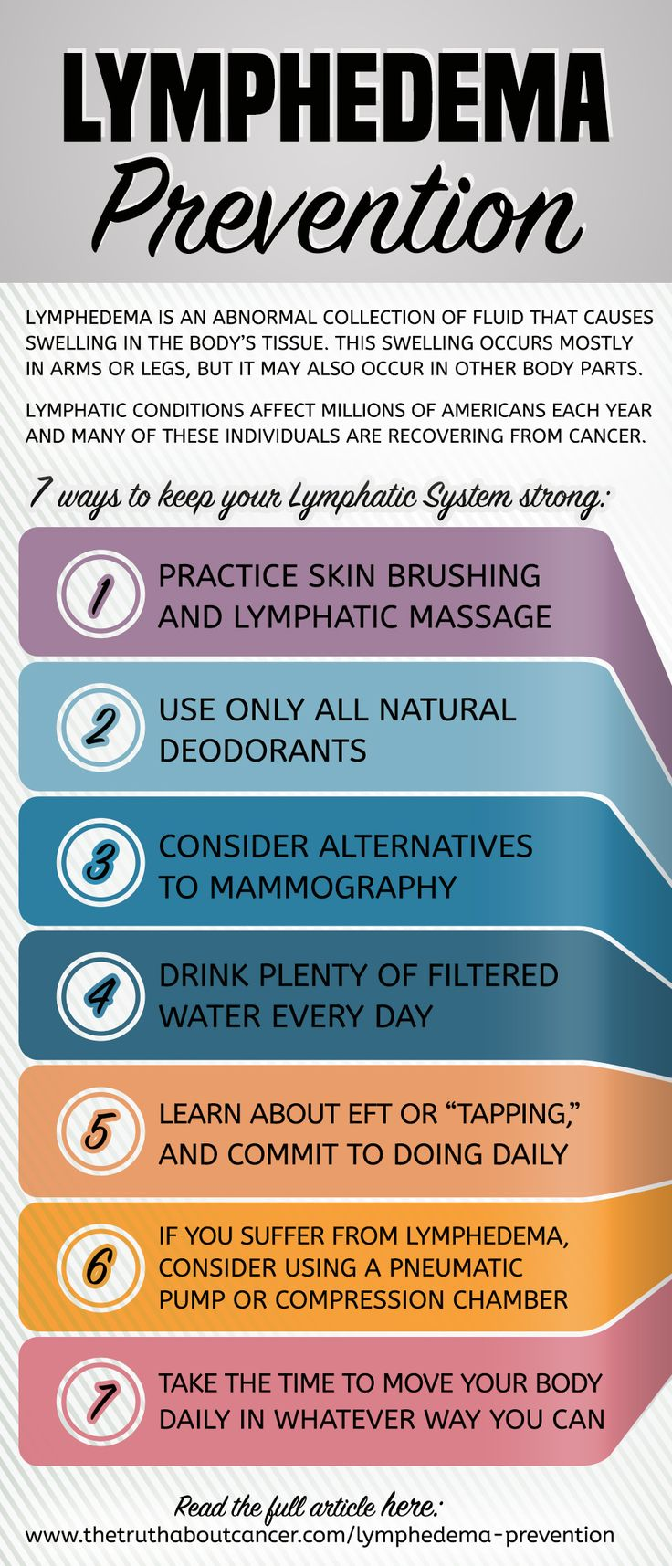 March is Lymphedema Awareness Month. Those who have had conventional cancer treatment such as radiation therapy are always at risk for developing this sometimes debilitating condition. Breast cancer patients who have gone through radiation, chemotherapy, and especially lymph node removal surgery are at an even higher risk. Get the scoop on lymphedema prevention & 7 ways to keep your lymph system humming. Click on the list above to read the full article.
