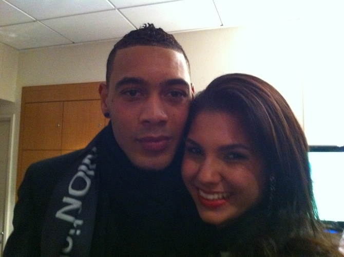 Marie Payet - Miss Reunion 2011 with Guillaume Hoarau