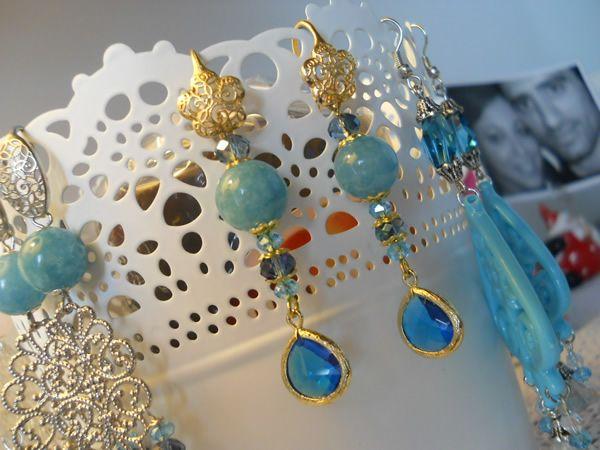 earrings, pendant zircon and golden brass hook