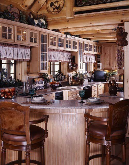 Cottage Log Cabin Kitchen. Creekside Log Home