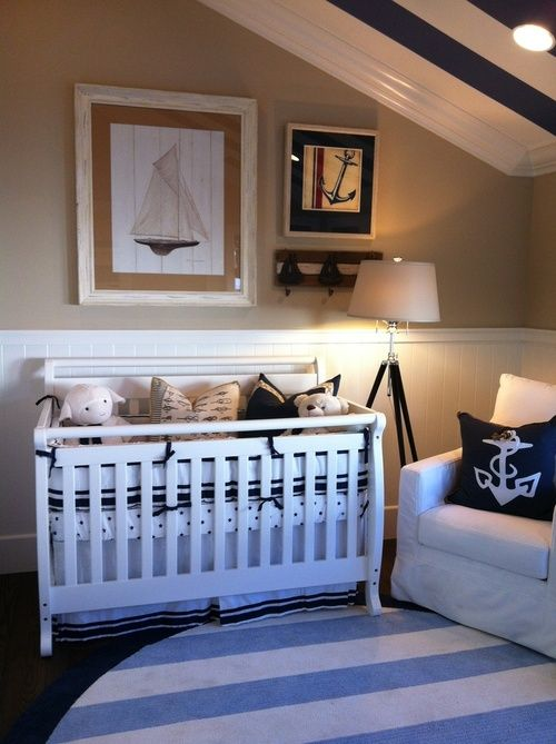 Another adorable nautical nursery. Burlap in large picture frame Matt. Rope accent
