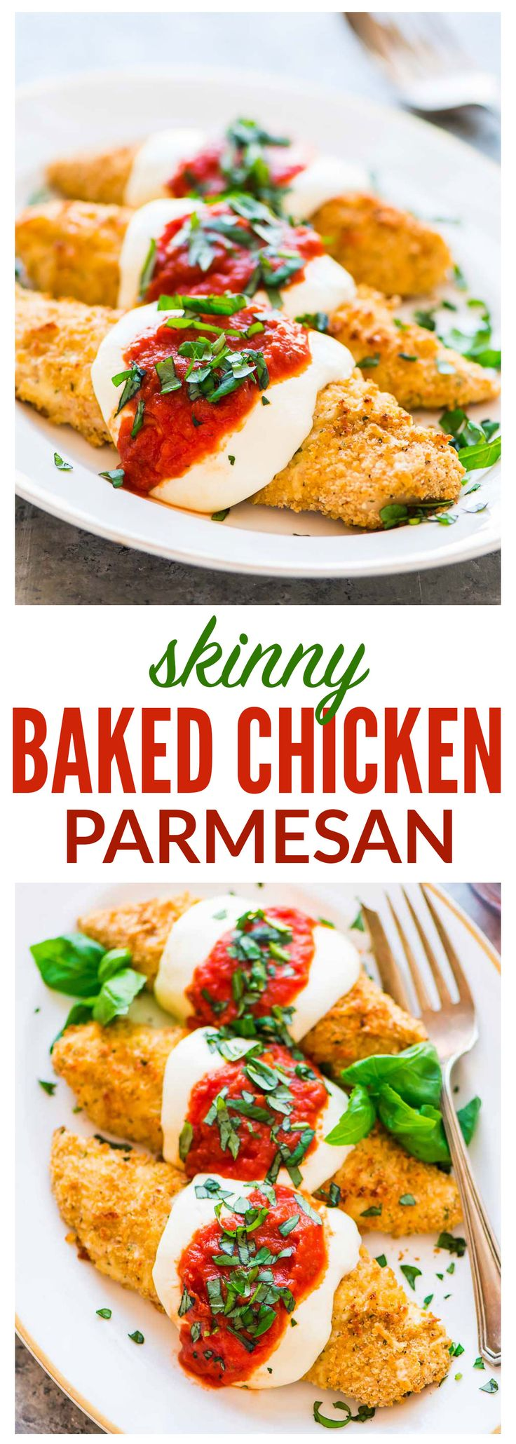 The BEST healthy baked Chicken Parmesan recipe, ready to eat in 30 minutes! This easy, oven baked chicken Parm recipe with Panko Parmesan crust is kid friendly and tastes better than the restaurant version! #chickenparmesan #baked #healthy