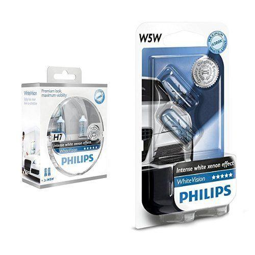 Philips PH H755W Ampoules Halogène Vision H7 12 V, Blanc, Set de 2 + Philips 681372 Ampoules Xenon White Vision 2 W5W, 12 V: 2 ampoules 60%…