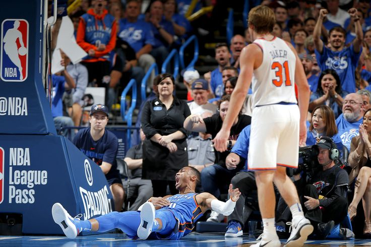 Oklahoma City's Russell Westbrook (0) celebrates after a basket and a foul during an NBA basketball game between the Oklahoma City Thunder and the New York Knicks at Chesapeake Energy Arena in Oklahoma City, Thursday, Oct. 19, 2017. Oklahoma City won 105-84. Photo by Bryan Terry, The Oklahoman