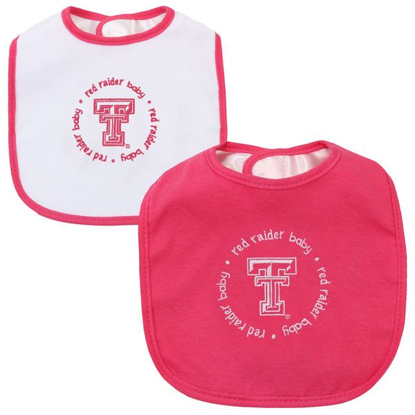 Texas Tech Red Raiders Infant 2-Pack Baby Bib Set – Pink/White - $14.99