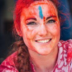 Young woman celebrating Holi Day stock photo