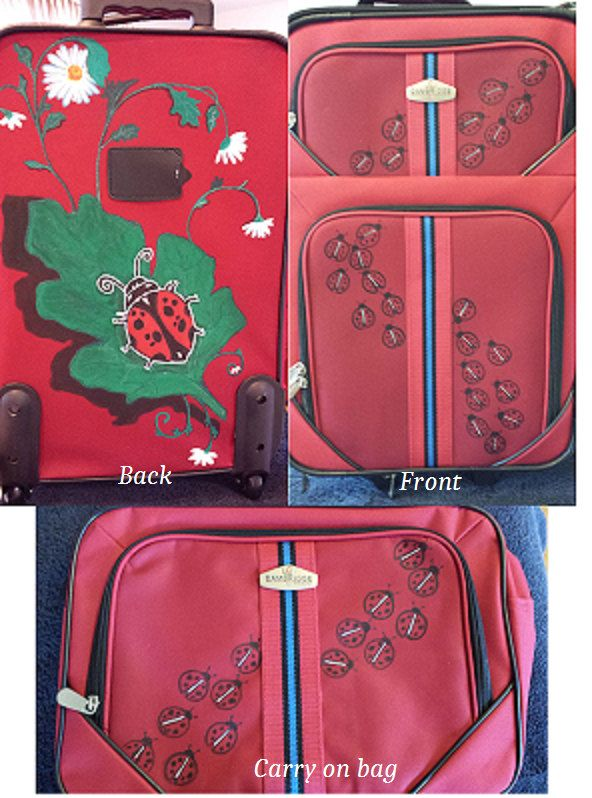 "Red ladybug 2 piece set, 20"" upright & 15"" Carry on by artwilltravel on Etsy"