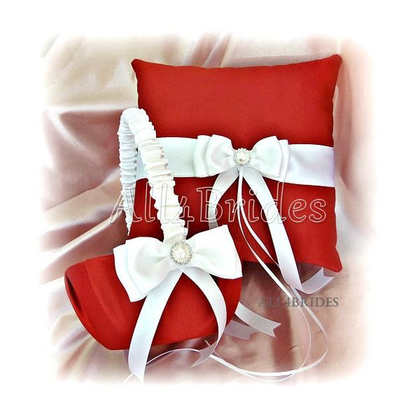 Persimmon Wedding Flower Girl Basket and Ring Bearer Pillow Set,... ($70) ❤ liked on Polyvore featuring home, home decor, throw pillows, flower throw pillows, flower home decor and flower stems