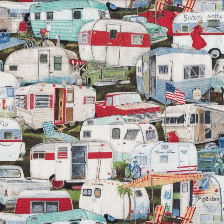 Retro Caravans Quilt Fabric - Find a Fabric. Available to purchase in Fat Quarters, Half Metre, 3/4 Metre, 1 Metre and so on.