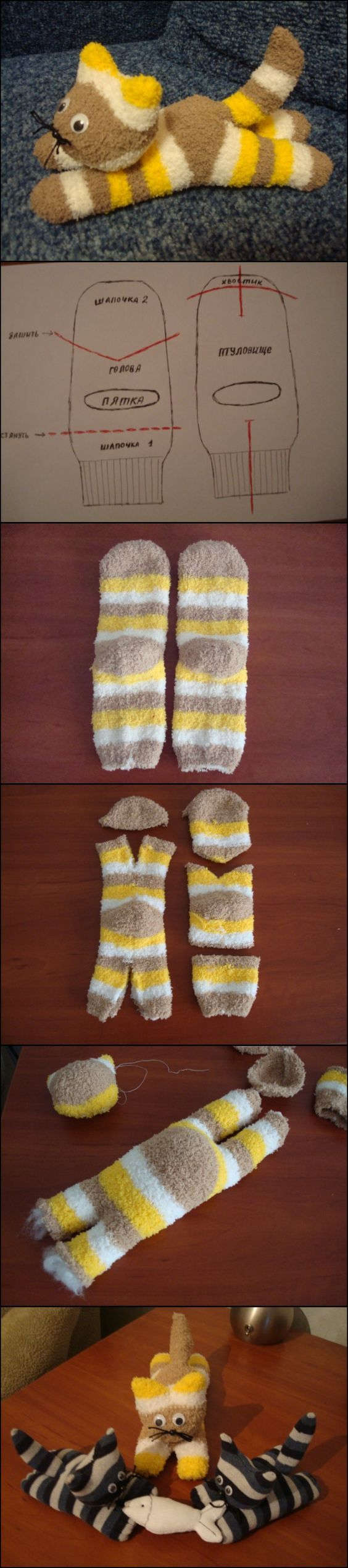 What you will need: Socks Filling materials Needle and thread Scissors Googly eyes Black yarn (cat whiskers) Hot glue More info and instructions about this great tutorial you can find in the source url - above the photo. diycraftstips.org is a collection of the best and most creative do it yourself projects, tips and tutorials. We […]