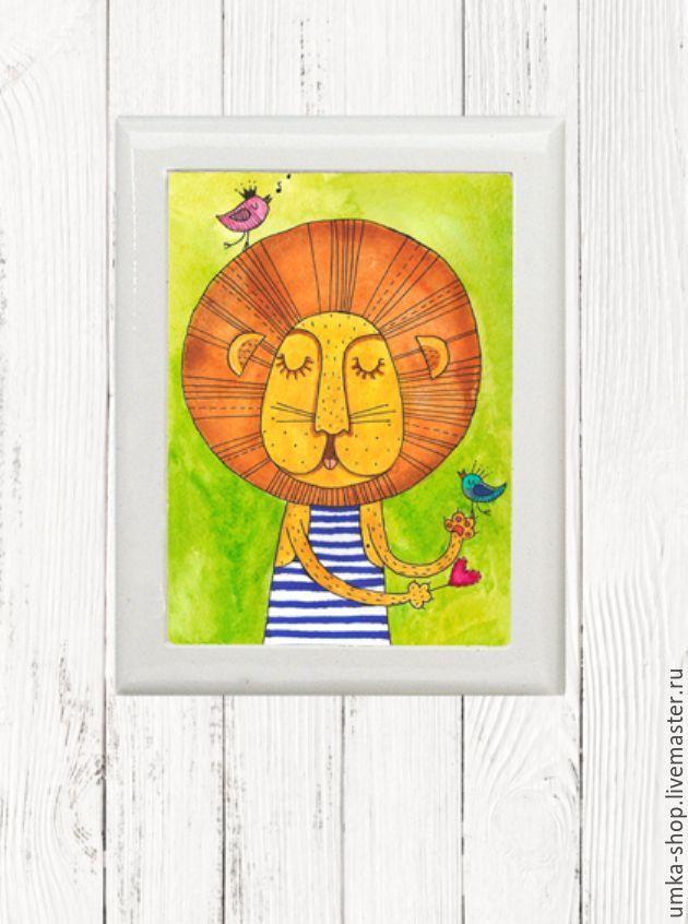 """Купить Постер в детскую """"Бонифаций"""" - комбинированный, салатовый, рыжий, оранжевый, грива, лев, картинка, постер"""