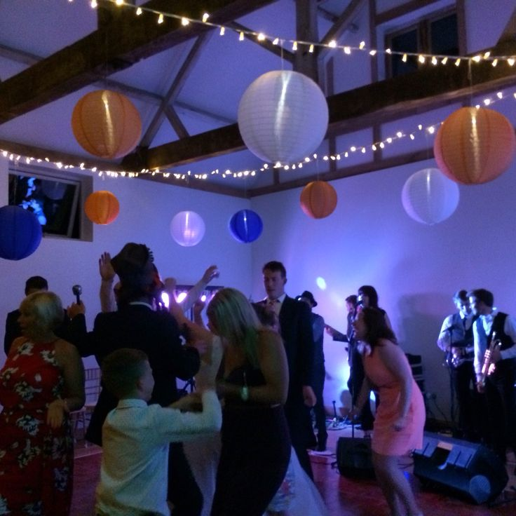 Hanging lanterns with fairy lighting at Dorney Court. Coach House Barn  http://www.lexmarqueehire.co.uk/dorney-court-wedding