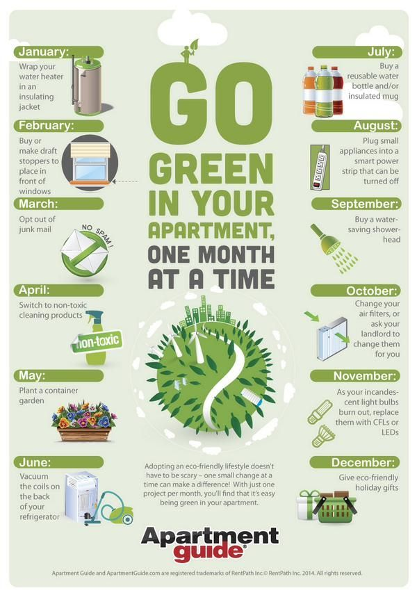 Go green in your apartment one month at a time #EcoFriendly #Green #Health #Water #Infographic