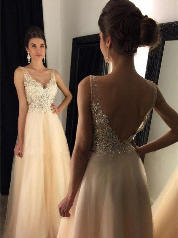A-Linie/Princess-Linie V-Ausschnitt Ärmellos Sweep/Pinsel zug Tüll Kleider – Lange Abendkleider – Abendkleider