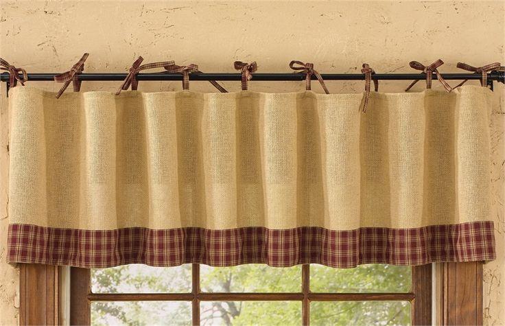 Wine Burlap Tie Sturbridge Curtain Valance 72 X 14
