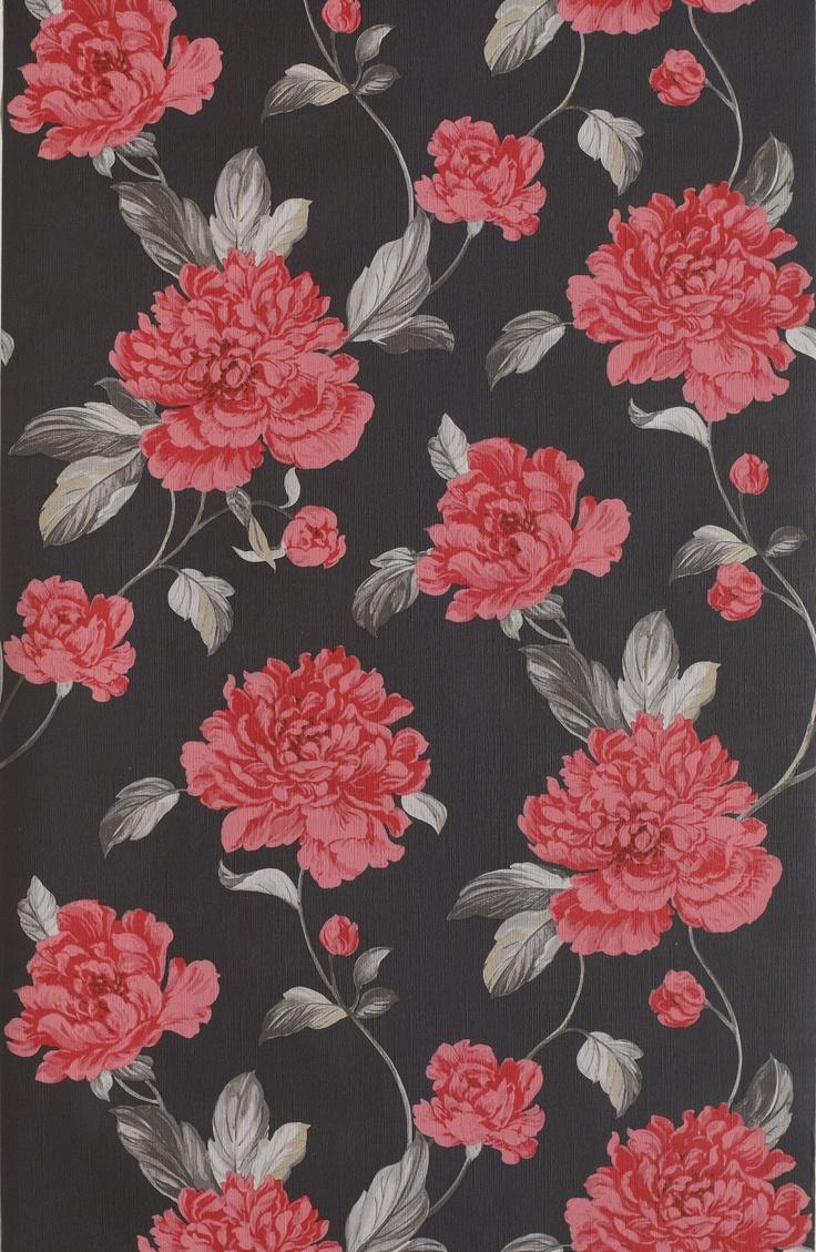 Papier peint - Collection Camilla de Grandéco, référence 202081 / Red, green, black floral