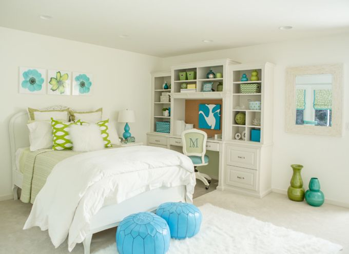 Crisp White Bedroom With Turquoise And Green Accents