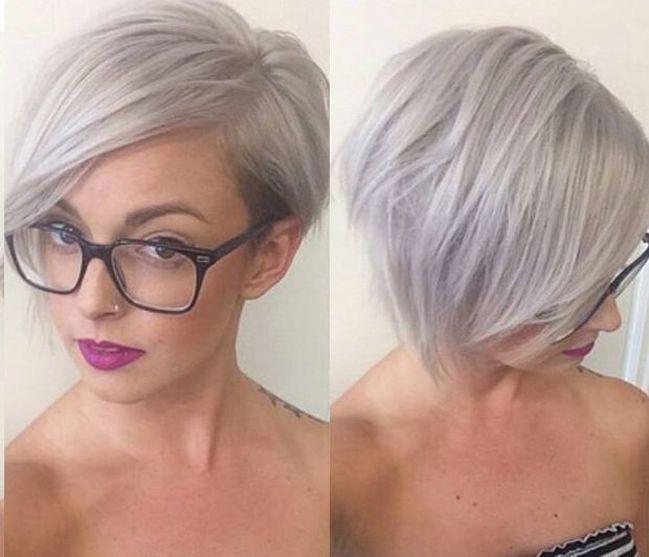 Kurzhaarfrisuren Damen 2016 Graue Haare mit Brille