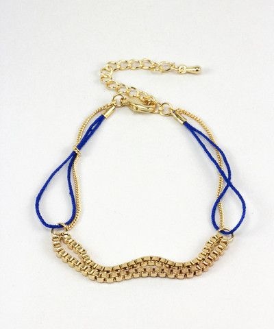 Gold Chain Stacking Bracelet - Blue. $ 15.00