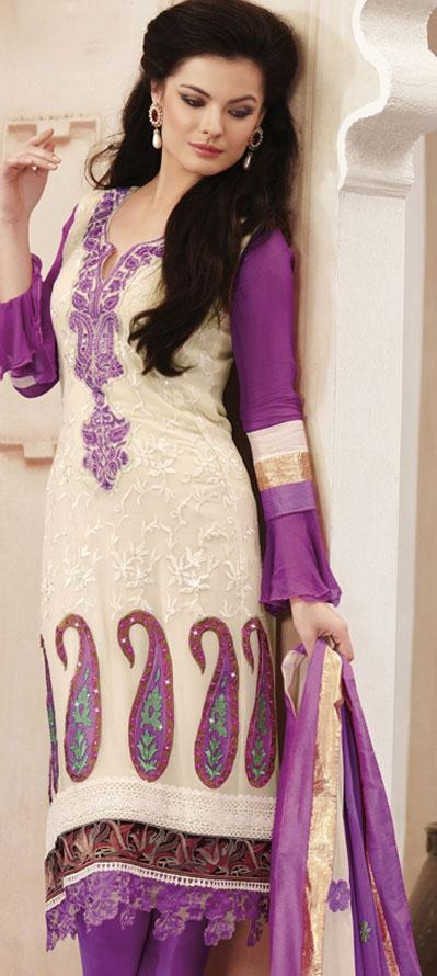 $105.53 Purple Full Sleeve Faux Georgette Knee Length Churidar Suit 19738