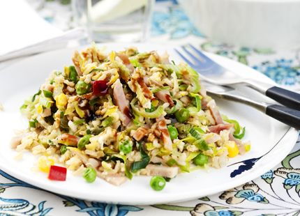 Stekt ris med kassler, salladsgrönsaker, ägg | MåBra - Nyttiga recept