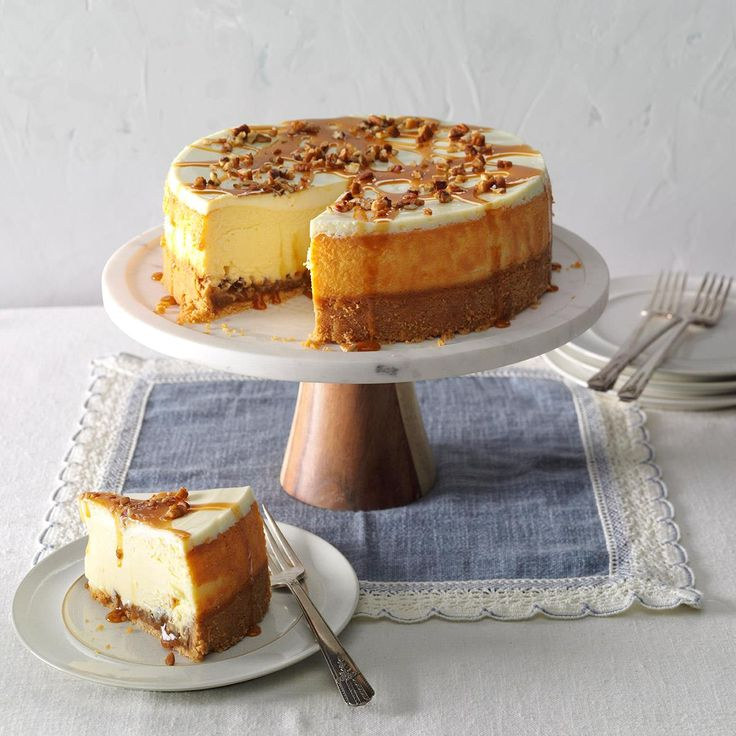 Caramel Pecan Cheesecake Recipe -I created this creamy cheesecake using two favorites—caramel and pecans. It's a stunning cake and rivals any I've tasted. —Deidre Sizer, Cedarville, Ohio