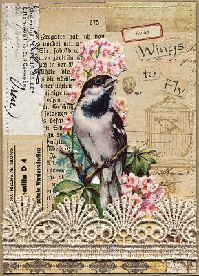 Art journal inspiration: Original pinner sez: Pretty mixed media piece. - love the bird, the color of the background, the text, and the lace