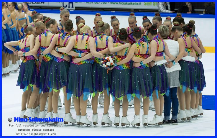 A coach and her bronze medalists, Team Mystique (Juniors), at Finnish Synchro Nationals Feb 2014